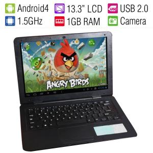 Newest 13.3 Inch android Laptop for Students/Children/Andorid 4.1 OS/A10 1.5GHz CPU/8GB Landflash/1.3M Camera/15000mah battery