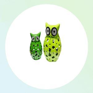 Rechargable Owl CE,ramics Jars Animal LED Solar Garden Light From China Factory