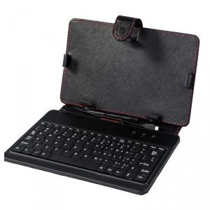 7Inch Universal Tablet Pc Keyboard With Case , Black Color With Red Thread
