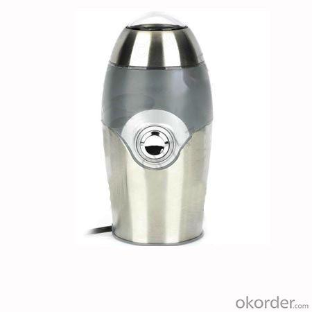 Portable 150W Electronic Coffee Grinder - Silver + Black