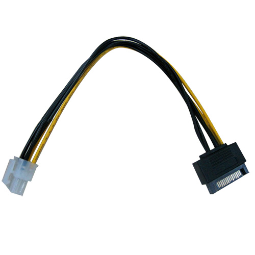 Sata 15Pin Male To Housing 6 Pin Power Cable