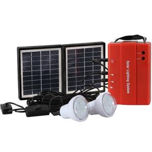 3.4w Solar Lighting System With Mobile Charge LED Bulb Light Outdoor 3.4W Solar Panel 4500mah Battery CE