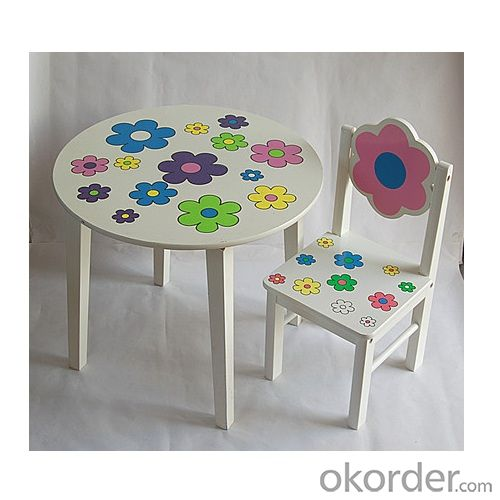 white children table with colorful flower