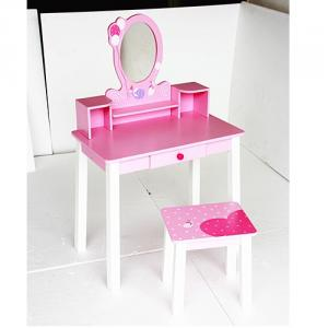 Made In China Quality Girl Pink Dressing Desk With Mirror Stool And Jewelry Cabinet Drawer