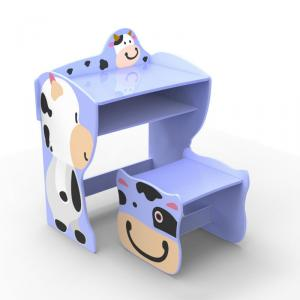 Kids Preschool Learning Desk With Cow Photo Blue