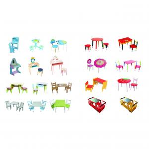 2014 New Design Wooden Kids Wheel Table And Chair With Stacking Function