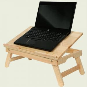 Solid Pine Wood Folding Computer Dest, Portable Laptop Tray Table,Solid Pine, Clear Lacquered,Nc
