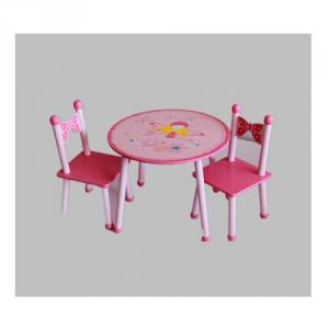 Kids Blossom Flower Shape Cartoon Wooden Table With 2 Chairs, Cartoon Dinning Table For Children