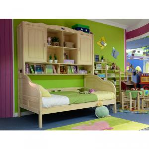 Green Color With Book Shelf Bed For Kids Bedroom Furniture