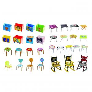 2014 Bestselling Cartoon Red Bus Wood Kids Table Chairs Red Fit Children Size