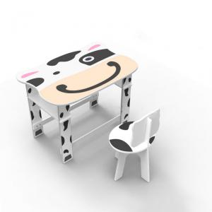 Kids Preschool Learning Desk With Cow Photo White