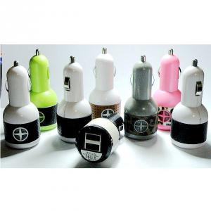 Car Charger for iPhones/Smart Phones/ipad/iTouch/MP3/MP4/E-Cigarette/Camera with Dual USB Port with Flexible Cable