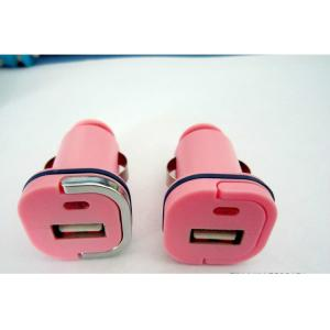 Car Charger for iPhone 5 /5s/ iPad/ iPod/ E- Cigarette with Dual USB Port in Pink against Over-heat