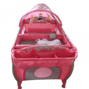 3-Part Turning Canopy With Toys Pink Baby Playpen