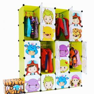 Kids' Foldable Cartoon Cabinet with Grids Customized Pattern