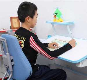 Hot Selling Height Angle Adjustable Children Study Table, Wood School Desk, Light Blue Student Table