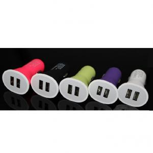China Car Charger Manufacturer 2.1A 5V Mini Dual 2 Port USB Car Charger For iPhone 4 4S 5 5s iPod iTouch eGo Cigarette Pink
