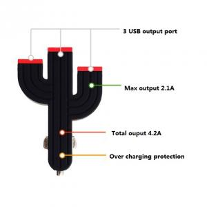 Hot Sale 3 Port Cactus Universal 5V USB Car Charger For iPhone 5 5s iPad 2 3 4 5 iPod eGo e Cigarette Camera Black