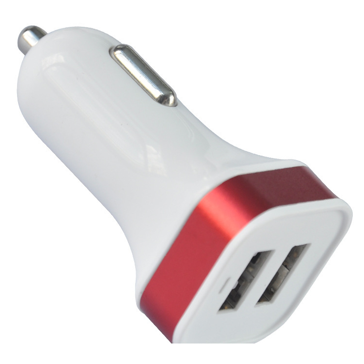 Car Charger Factory Universal 5V Dual Port Aluminum Square Mini Micro USB Car Charger For iPhone 4S 5 5S iPad iPod Samsung