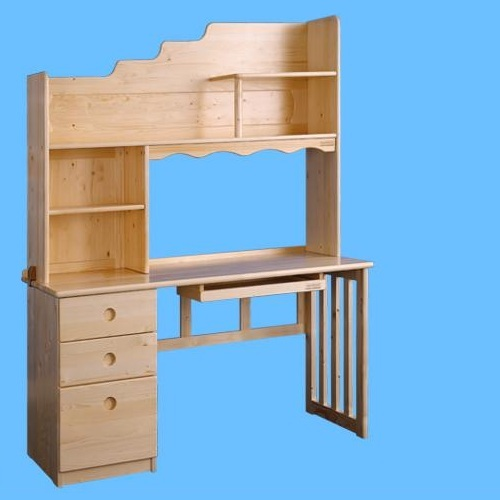 Children Computer Desk Kids Study Table With Bookshelf In Natural Solid Wood
