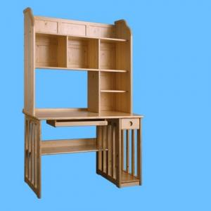 Children Preschool Furniture/Students Study Table with Bookrack in Pine Wood