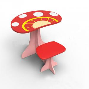 Preschool Children Table Kids Study Table and Chair Set in Cartoon Mushroom Pattern