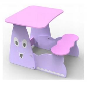 Preschool Students Desk and Table Set in Cute Pink Cartoon Smiling Face Pattern