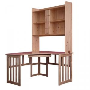 Children Preschool Furniture/Students Study Table with Bookcase in Natural Pine Wood