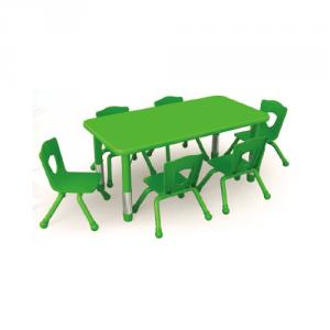 Adjustable Children Desk And Chair With Six Seats Square Table