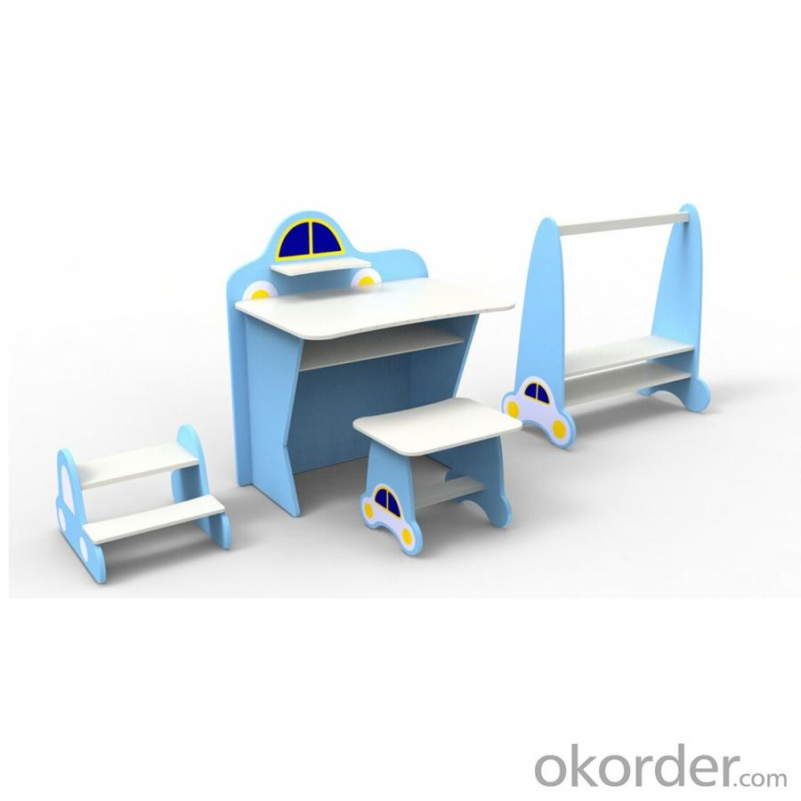 Preschool Kids Desk Children School Table and Chair Set in MDF Board