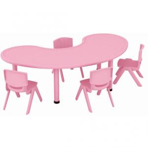 Moon Shape Furniture Set Six Seats Plastic Children's Deak and Chairs