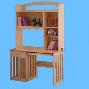 Children Computer Desk/Students Study Table with Bookshelf in Natural Solid Wood