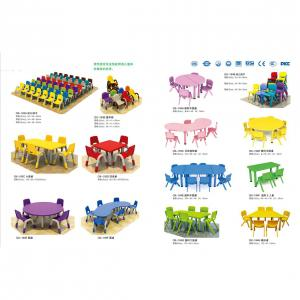 PP Plastic Children's Desk and Chairs with Different Colors Children Furniture