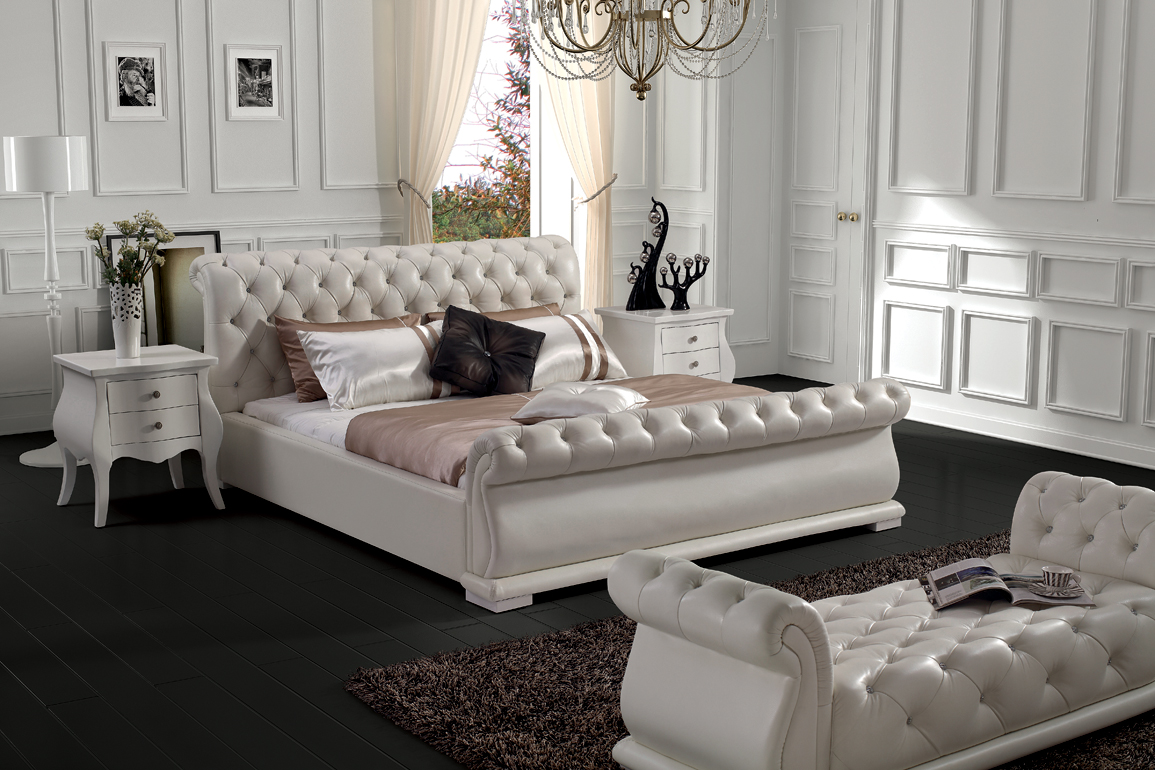 Modern classic leather bed Queen size