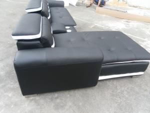 Black color genuine leather corner sofa 8098