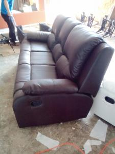 Manual recliner leather sofa set 8387