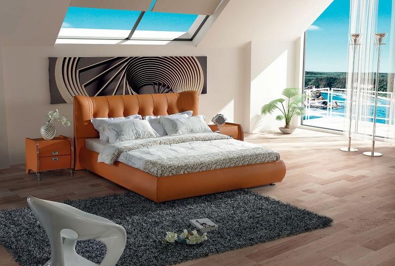 Modern classic leather bed PVC