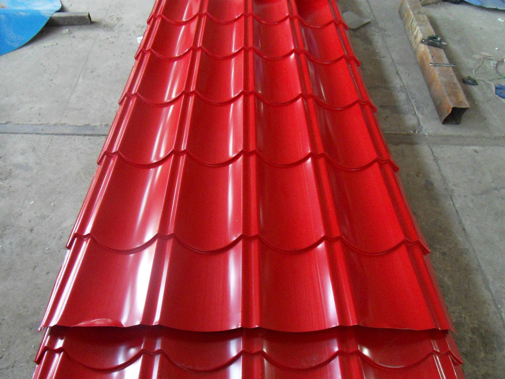 Pre-Painted Galvanized Corrugated Steel in Brick Red