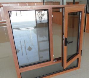 Aluminum frame tilt an turn windows with gold color hinges