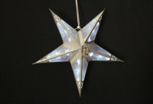 Foldable PVC Silver Hanging Star Light with Battery Box