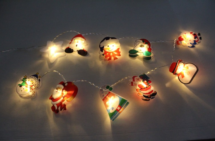 Battery Light String with Paper Christmas Icons