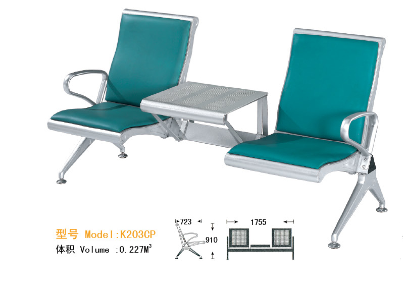 WNACS-THREE SETAS METAL AIRPORT WATIING CHAIR WITH HIGH BACK AND CUSHION AND COFFEE TABLE