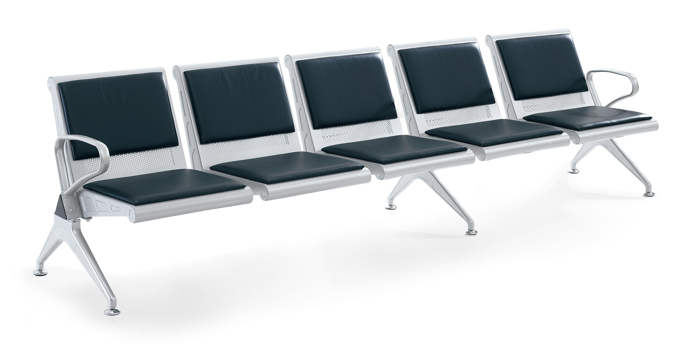 WNACS-FIVE SETAS METAL POWDER PAINTED AIRPORT WATIING CHAIR WITH PVC OR PU CUSHION