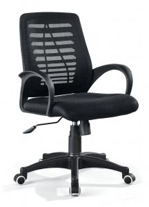 ZHSMC-04 Swivel Office Chair with Round Armrest and Black Legs