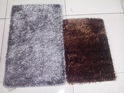 Cheap Grey Brown Chenille Microfiber Rug