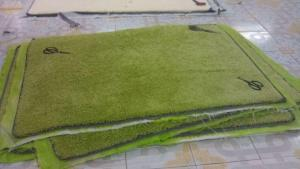 Polypropylene Shaggy  Carpets with Green Color and Cheap Price