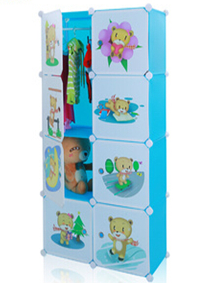 DIY storage cabinet with cloth pole for children
