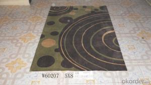 Black Green Cycle Pattern Handmade Acrylic Carpets