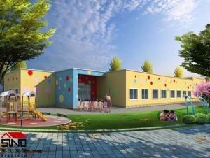 steel house for kindergarten double wall