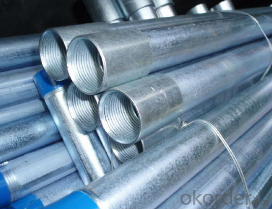 hot dipped galvanized pipe with thread and coupling